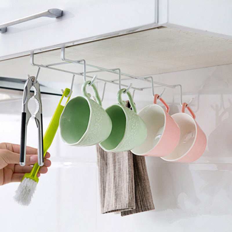 Multi functional New Kitchen Storage Rack Cupboard Hanging Hooks Cup Storage Holder Dish Hanger Shelf Bathroom Organizer #233583