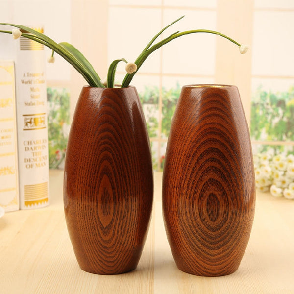 Japanese Solid Wooden Oval Flower Vases Japan Home Decor Accessories Wood Vase