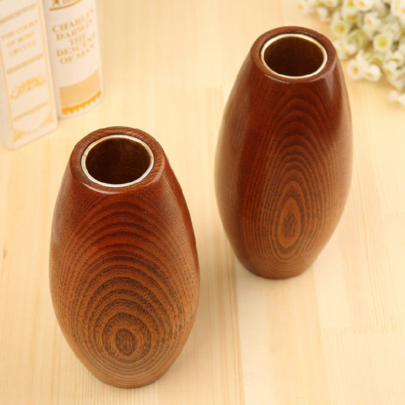 Japanese Solid Wooden Oval Flower Vases Japan Home Decor Accessories Wood Vase Design