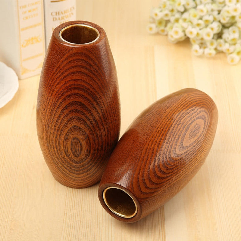 Japanese Solid Wooden Oval Flower Vases Japan Home Decor Accessories Wood Vase Design B