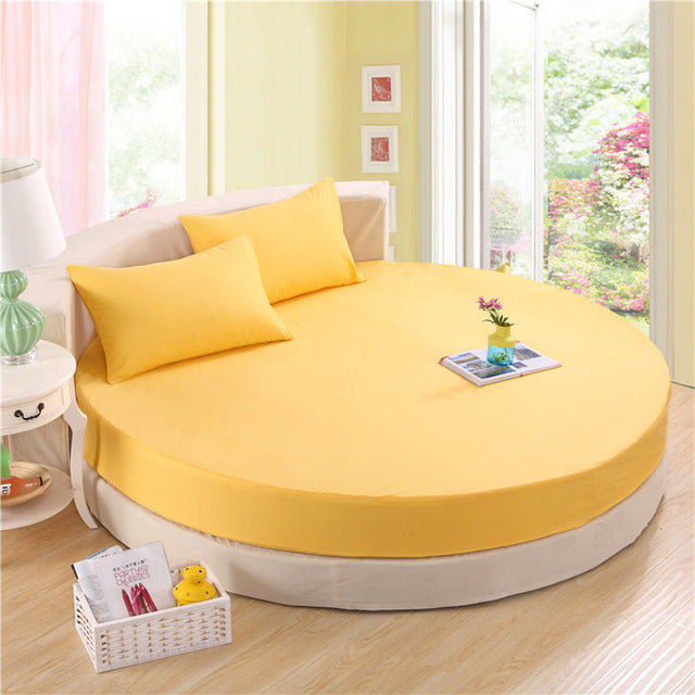 Japanese Yellow cotton round fitted 3 Piece Bedding Set