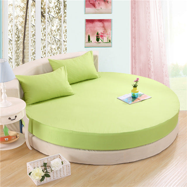 Japanese green cotton round fitted 3 Piece Bedding Set