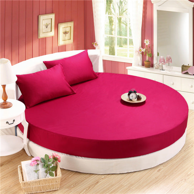 Japanese Wine Red cotton round fitted 3 Piece Bedding Set