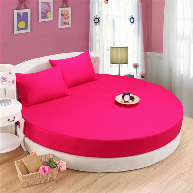 Japanese Rose Red cotton round fitted 3 Piece Bedding Set