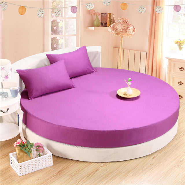 Japanese Purple cotton round fitted 3 Piece Bedding Set