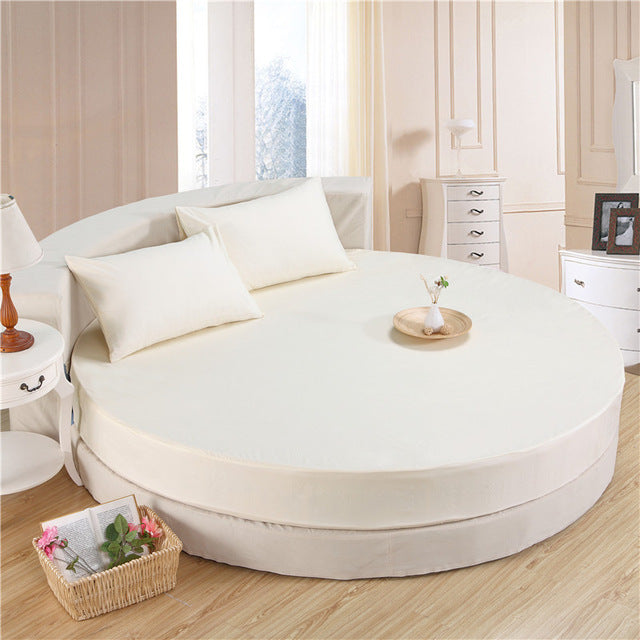 Japanese White cotton round fitted 3 Piece Bedding Set