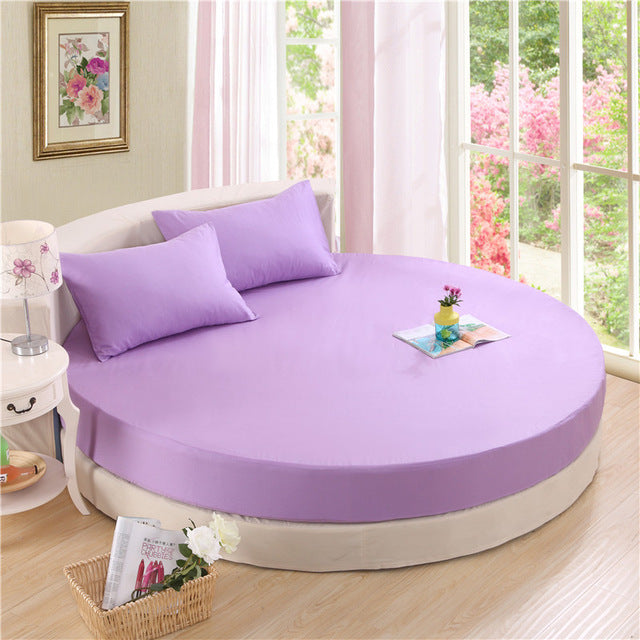 Japanese violet cotton round fitted 3 Piece Bedding Set