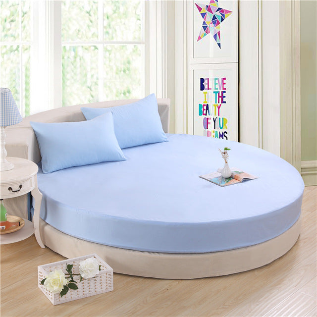 Japanese Sky Blue cotton round fitted 3 Piece Bedding Set