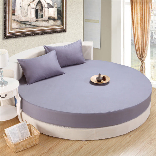 Japanese Silver Gray cotton round fitted 3 Piece Bedding Set