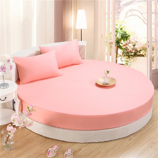 Japanese Pink cotton round fitted 3 Piece Bedding Set