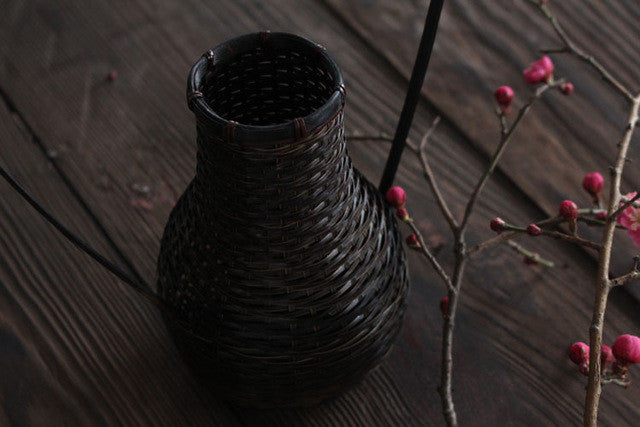 Handmade Japanese Bamboo Weaving Flower Vase For Home Decor Plant Paint High Quality Wedding Decoration Vase Gift Crafts Basket