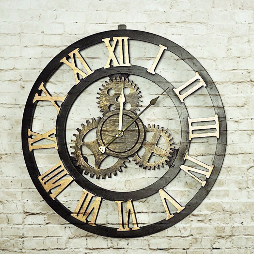 2 Colors Retro Oversize Decor Wall Clock  Large Hollow Hanging Artistic Roman Number Quartz Wall Clock For Living Room Shop