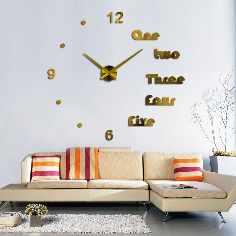 Gold 3D Letters wall clocks