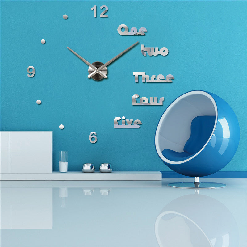 Silver 3D Letters wall clocks