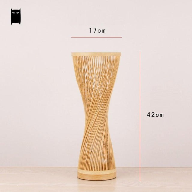 SOLEILCHAT Japanese Bamboo Wicker Rattan Spire Vase Table Lamp Fixture Creative Rustic Korean Asian Japanese Style Desk Light Abajur Bedroom Bedside