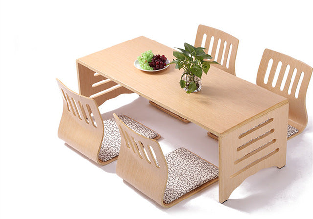 Modern Japanese Oak Dining Table and Chair Set Asian Dining Furniture