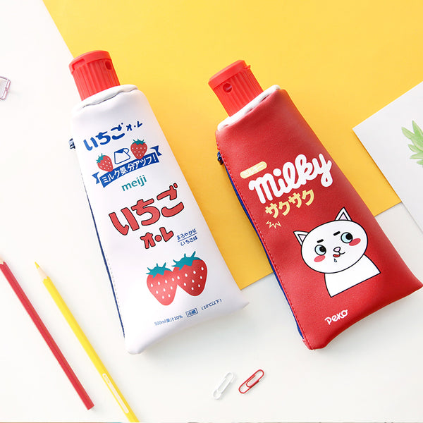 Kawaii Toothpaste pencil case bag PU leather Big Milk bottle with sharpener