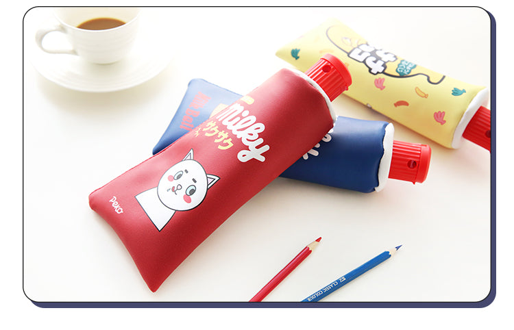 Red yellow Kawaii Toothpaste pencil case bag PU leather Big Milk bottle with sharpener