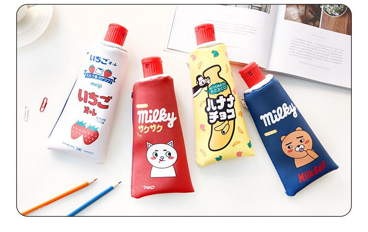 White red yellow blue Kawaii Toothpaste pencil case bag PU leather Big Milk bottle with sharpener