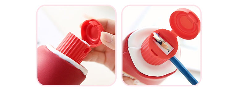 Red Kawaii Toothpaste pencil case bag PU leather Big Milk bottle with sharpener