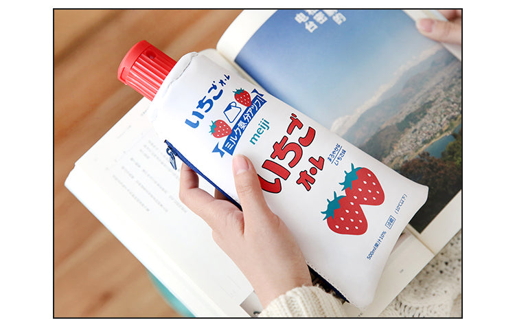 White Kawaii Toothpaste pencil case bag PU leather Big Milk bottle with sharpener