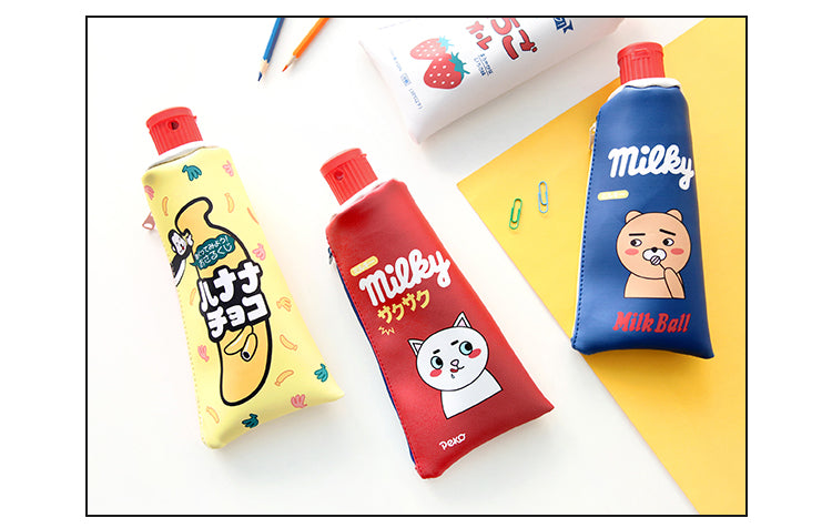 Red yellow Blue Kawaii Toothpaste pencil case bag PU leather Big Milk bottle with sharpener