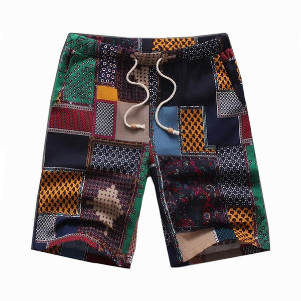 Mens Fashion Bohemian Flax Big Yards Pattern Linen Short Pant Male leisure Print beach shorts Knee Length