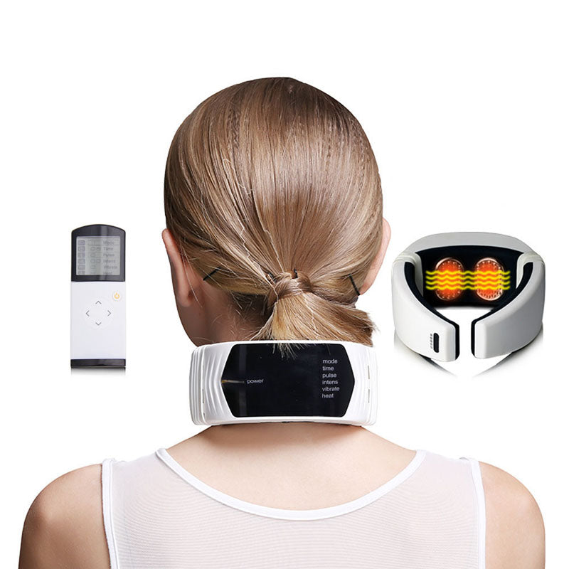 Wireless Remote Control Neck Massager For Infrared Heating Cervical Therapy Neck Pain Relief accupuncture vibration massage