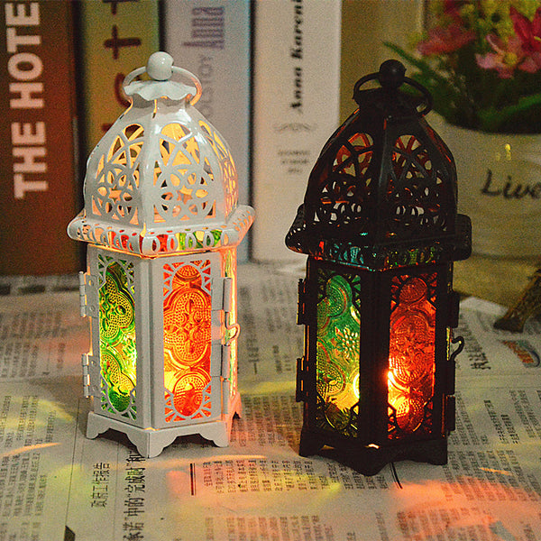 European Stained Glass White Black Wrought Iron Candle Holder Lanterns