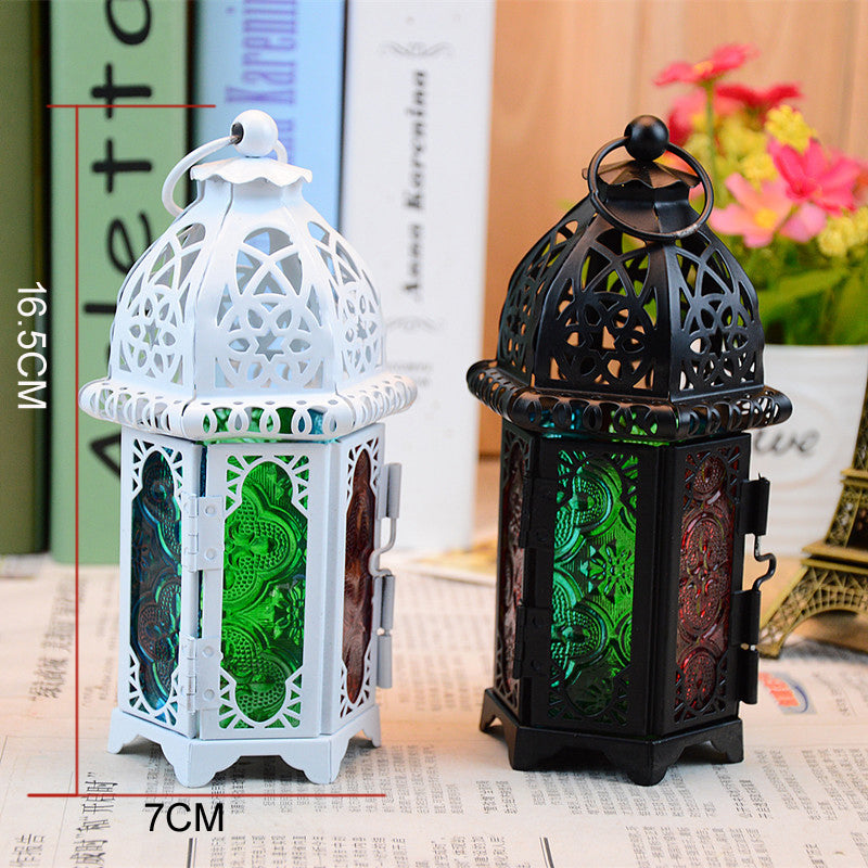 European Stained Glass Black White Wrought Iron Candle Holder Lanterns Design C