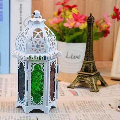European Stained Glass White Wrought Iron Candle Holder Lanterns