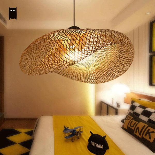 SOLEILCHAT Japanese Big Bamboo Wicker Rattan Pendant Light Fixture Rustic Asian Japanese Style Hanging Lamp Luminaria Indoor Home Dining Table Room