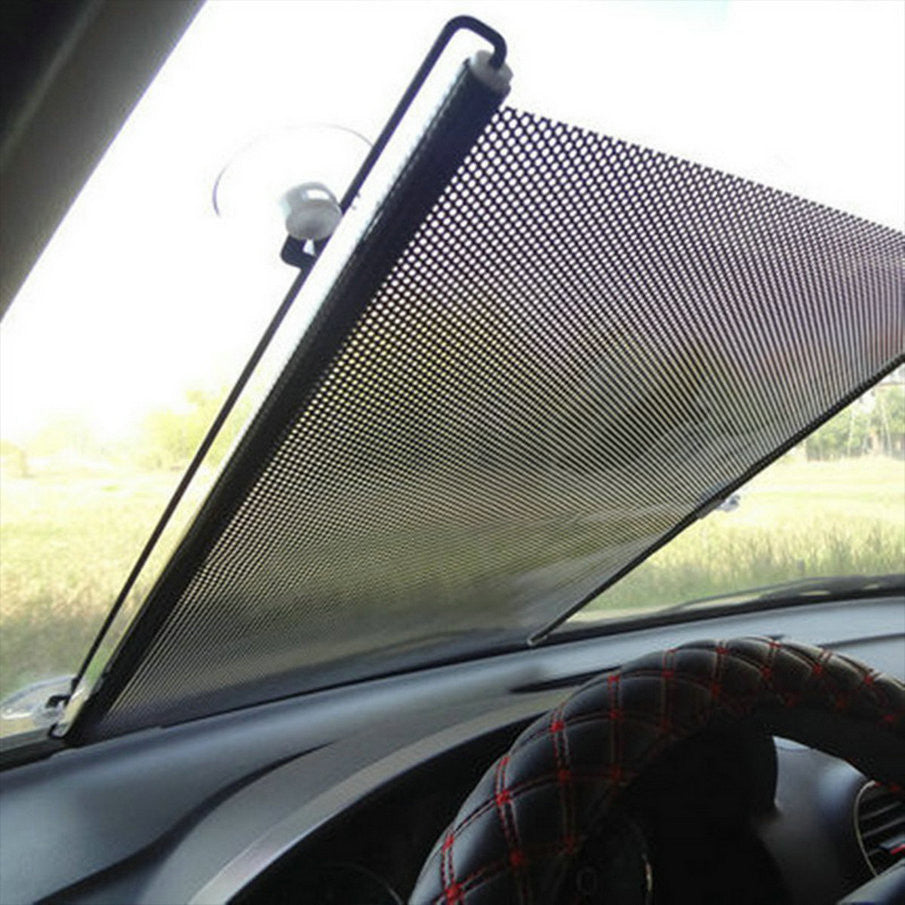 Auto Retractable Car Curtain Side Window Car Sun Shade Curtain Windshield Sunshade Shield Visor Block Black Curtains for Cars