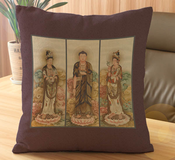 Buddism Cultural Print Brown Cushion Covers