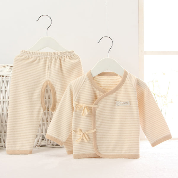 Newborn Clothes 100% Cotton Soft Cream Stripe Baby Clothing 2 Piece Kimono Set
