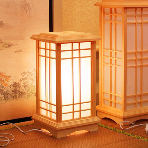 WINZSC Japanese solid wood floor lamps creative square bedroom living room study lamp retro home lighting commonly used floor lights ZA