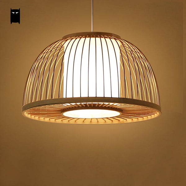 Asian SOLEILCHAT Round Bamboo Wicker Rattan Shade Cover Pendant Light Cord Fixture Nordic south East Asian Japanese Tatami Lamp Design Dining Table Room