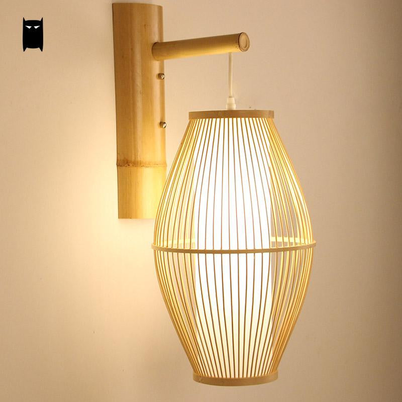 Bamboo Wicker Rattan Lantern Shade Wall Lamp Fixture Rustic Country Asian Japanese Sconce Light