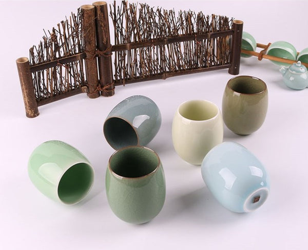 6 Piece Chinese Longquan celadon tea cup ceramic tea cup kung fu tea japanese style office cup