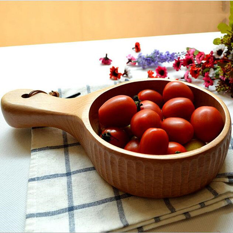 Long-handled Natural handmade wooden japanese bowl