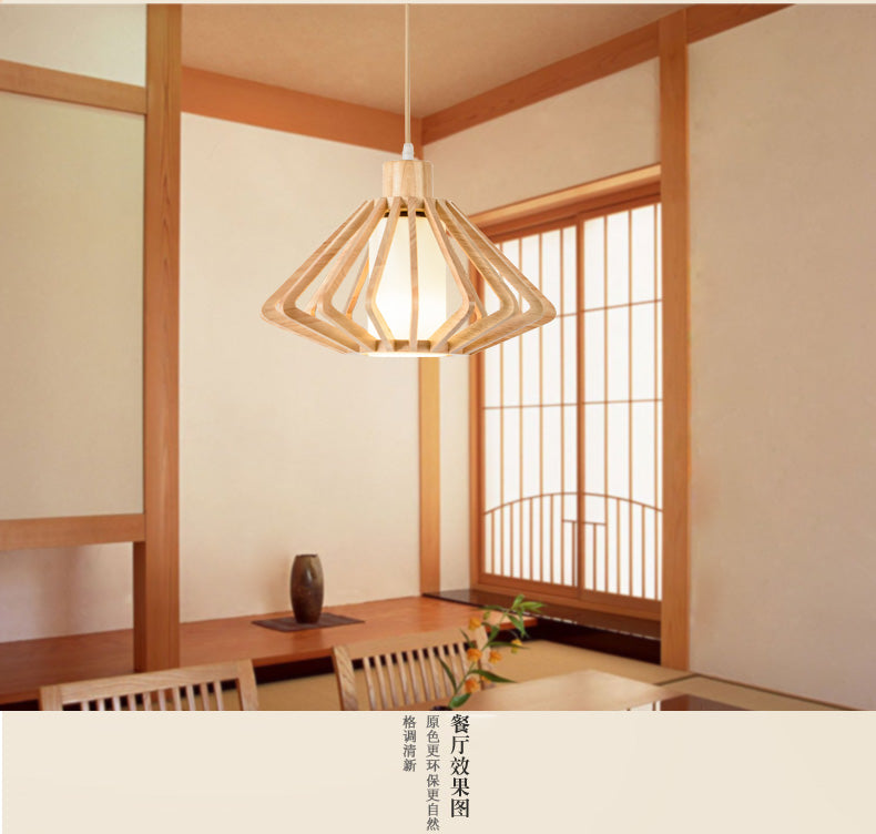 WINZSC Japanese style wooden pendant lamps light wood color personality tatami restaurant balcony porch lamp Korean garden lamp ZA