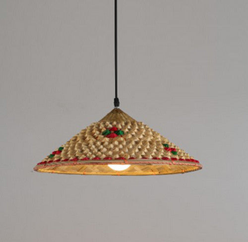 Bamboo Wicker Rattan Hat Pendant Light Fixture Rustic Asian Japanese Hanging Lamp