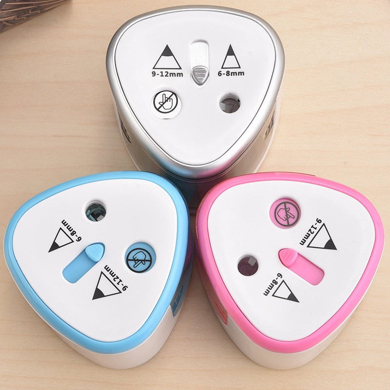 Electric Two Holes Pencil Sharpener Desktop Student Automatic Pencil Sharpeners for Art Painting Stationery Supplies Trendy