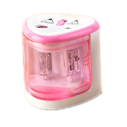 Electric Two Hole Size Pink Pencil Sharpener Desktop Student Automatic Pencil Sharpeners for Art Painting Stationery Supplies Trend