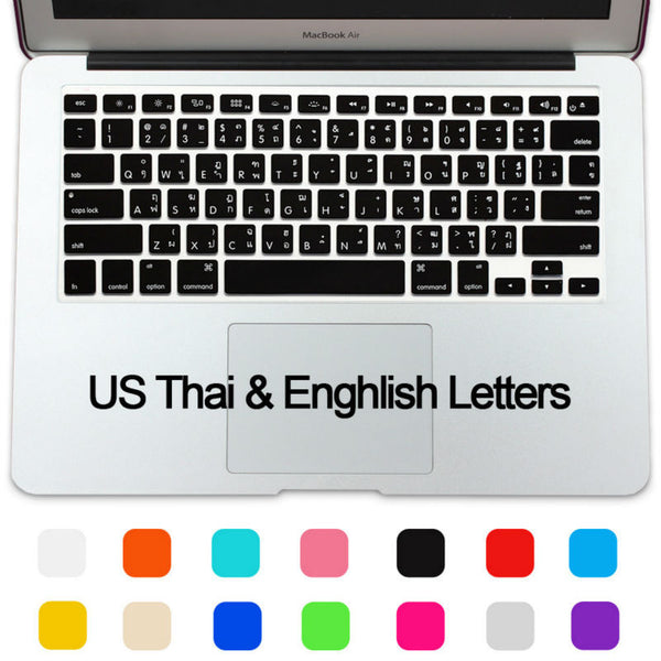 Language Keyboard Letters Mapper - Silicone Waterproof  English / Thai / English Alphabet Keyboard Letters Cover Suitable For MacBook Air 13 Pro 13 15 17 Retina