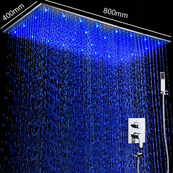 Wall Mounted Shower Set Ceiling LED Rain Shower Heads Hot And Cold Shower Mixer Bathroom Fixtures Luxury Shower System