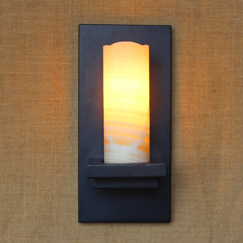 vintage retro black metal glass Marble lampshade wall lamp E27 for Bathroom Vanity Lights porch night light fixture sconce bar