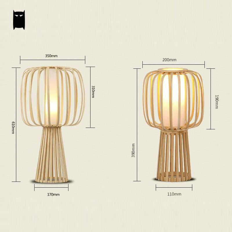 SOLEILCHAT Bamboo Table Lamp Fixture Asian Rustic Japanese Style Shade Desk Light Avize Luminaria Indoor Home Bedroom Bedside Study Room Table Lamp