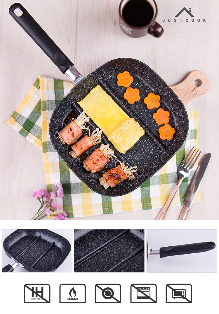 22x24cm 3 in 1 Breakfast Frying Pans Three Compartment Non-Stick Pan