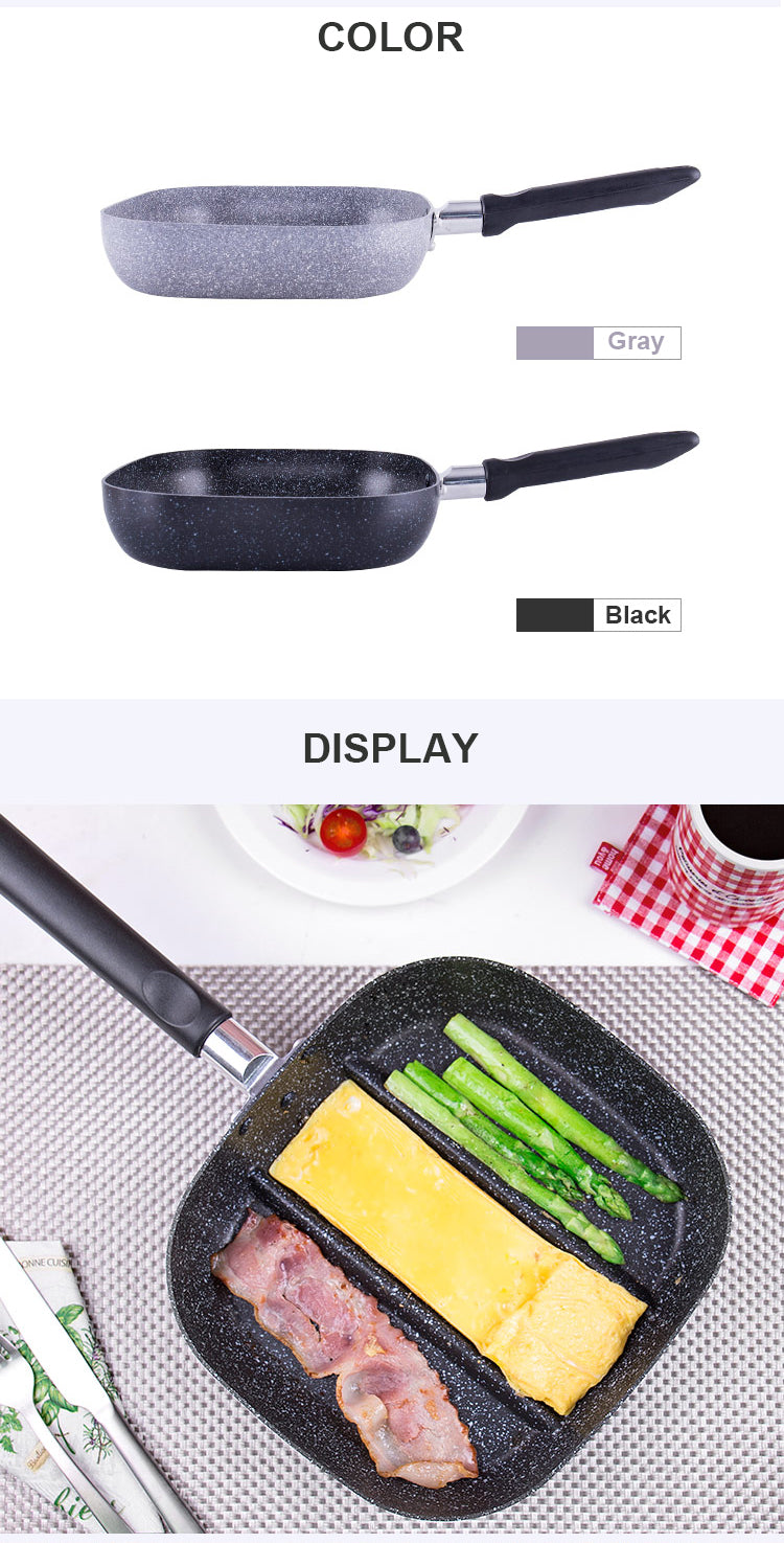 Black 22x24cm 3 in 1 Breakfast Frying Pans Three Compartment Non-Stick Pan Style